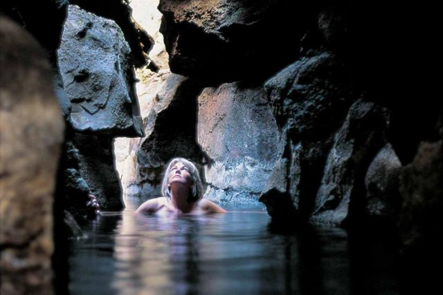 Exotic bathing in one of the caves