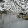 Bathing in Landmannalaugar in winter